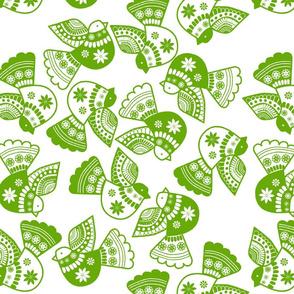 oiseau vert fond blanc