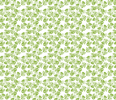 oiseau vert fond blanc S fabric by nadja_petremand on Spoonflower - custom fabric