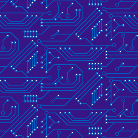 Robot coordinates - circuit board - dark blue fabric by coggon_(roz_robinson) on Spoonflower - custom fabric