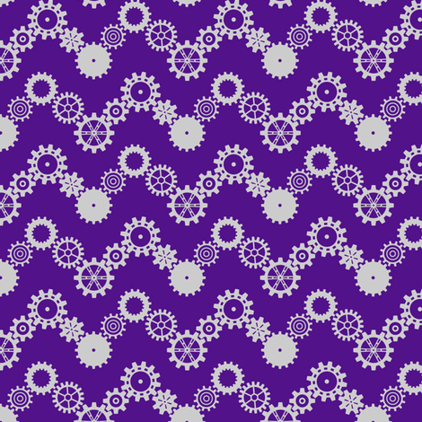 Robot coordinates - cog chevron - purple fabric by coggon_(roz_robinson) on Spoonflower - custom fabric