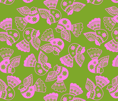 oiseaux rose fond  vert fabric by nadja_petremand on Spoonflower - custom fabric