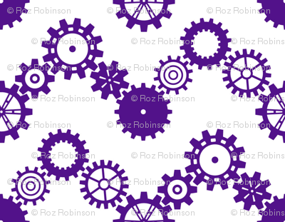 Robot coordinates - cog chevron - purple & white