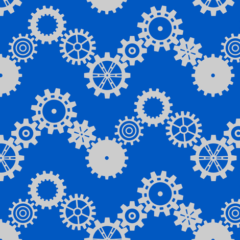 Robot coordinates - cog chevron - blue & grey fabric by coggon_(roz_robinson) on Spoonflower - custom fabric