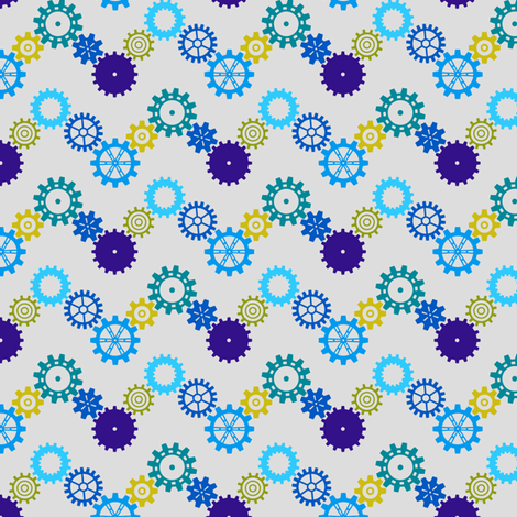 Robot coordinates - cog chevron - multi & grey fabric by coggon_(roz_robinson) on Spoonflower - custom fabric