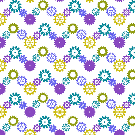 Robot coordinates - cog chevron - multi & white fabric by coggon_(roz_robinson) on Spoonflower - custom fabric