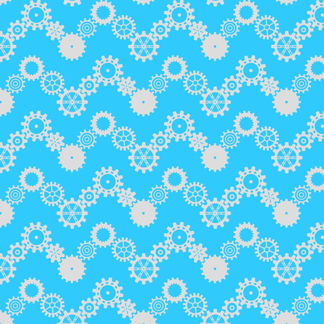 Robot coordinates - cog chevron - blue & white fabric by coggon_(roz_robinson) on Spoonflower - custom fabric