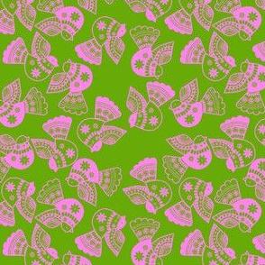 oiseaux rose fond vert S