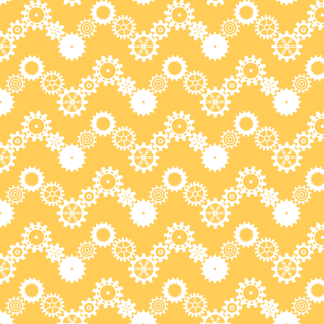 Robot coordinates - cog chevron - yellow & white fabric by coggon_(roz_robinson) on Spoonflower - custom fabric