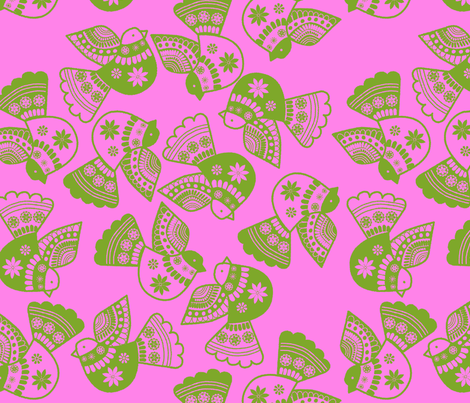 oiseaux vert fond rose fabric by nadja_petremand on Spoonflower - custom fabric