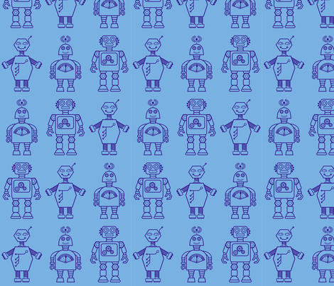 Robot coordinates - bit bots - blue fabric by coggon_(roz_robinson) on Spoonflower - custom fabric