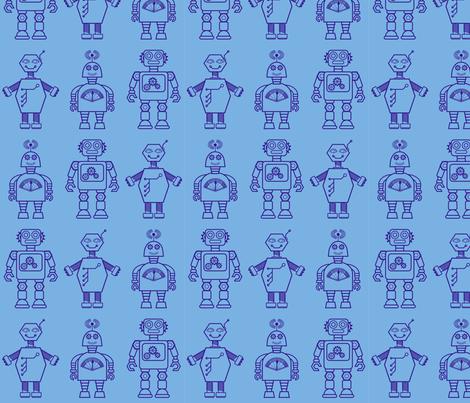 Robot coordinates - bit bots - blue fabric by coggon_(roz_robinson) on Spoonflower - custom fabric