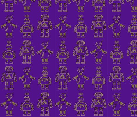 Robot coordinates - bit bots - purple fabric by coggon_(roz_robinson) on Spoonflower - custom fabric