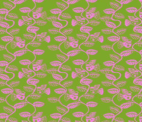 set feuillage d_oiseau rose fond vert fabric by nadja_petremand on Spoonflower - custom fabric
