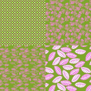 set feuillage d_oiseau rose fond vert