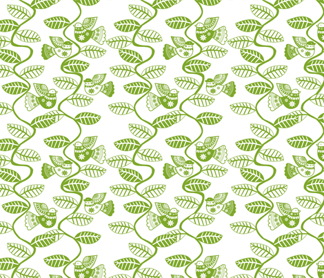 set feuillage d_oiseau vert fond blanc fabric by nadja_petremand on Spoonflower - custom fabric