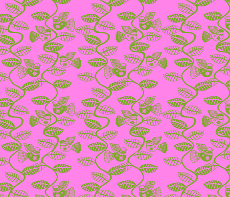set_feuillage_d_oiseau_vert_fond_rose fabric by nadja_petremand on Spoonflower - custom fabric