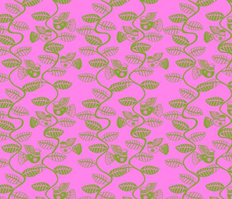 set_feuillage_d_oiseau_vert_fond_rose