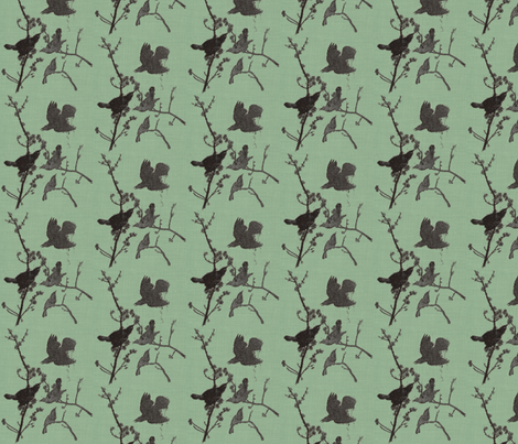 Blackbirds on Mint Blue fabric by retrofiedshop on Spoonflower - custom fabric