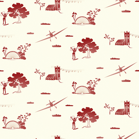 Hucknall Torkard - past to present fabric by upcyclepatch on Spoonflower - custom fabric