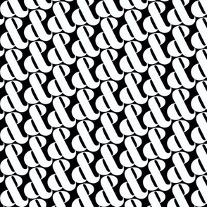 Etcetera, etc. (White on Black) || black and white ampersands typography type houndstooth