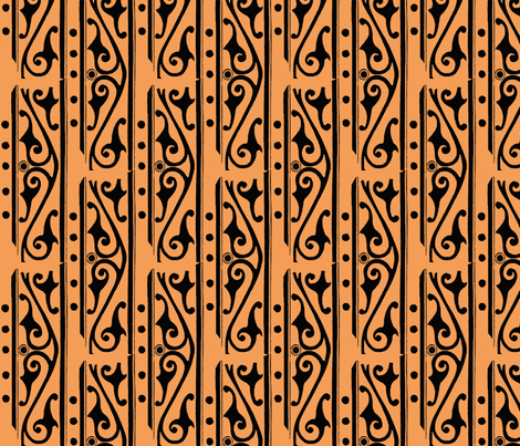 tangerine scroll fabric by nalo_hopkinson on Spoonflower - custom fabric