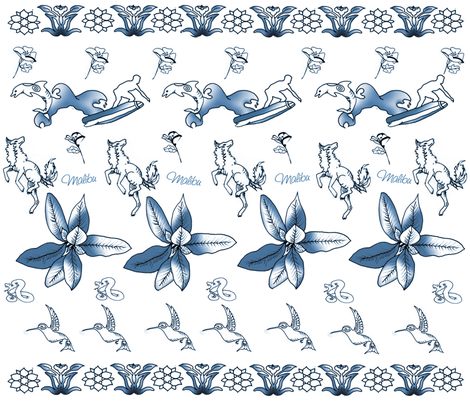 Malibu Toile fabric by cyndala on Spoonflower - custom fabric
