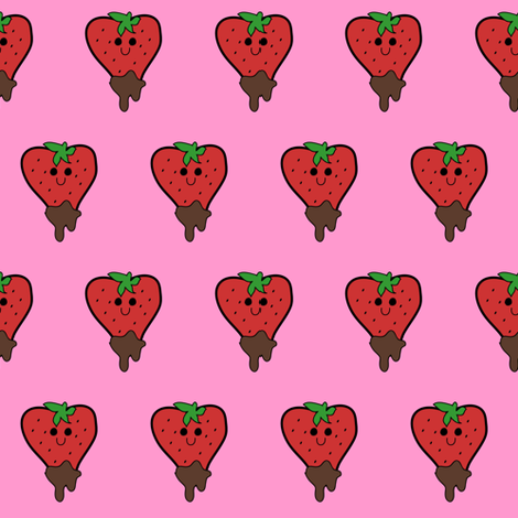 Kawaii Strawberry fabric by jenax on Spoonflower - custom fabric