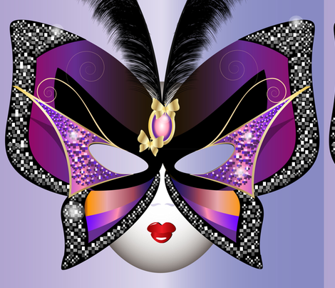 Butterfly Carnival Mask With Feathers fabric by twosister42 on Spoonflower - custom fabric