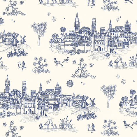A Medieval Woodcut - Brugge fabric by forest&sea on Spoonflower - custom fabric