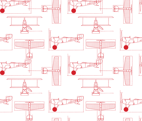 red_flight_school_blueprints fabric by holli_zollinger on Spoonflower - custom fabric