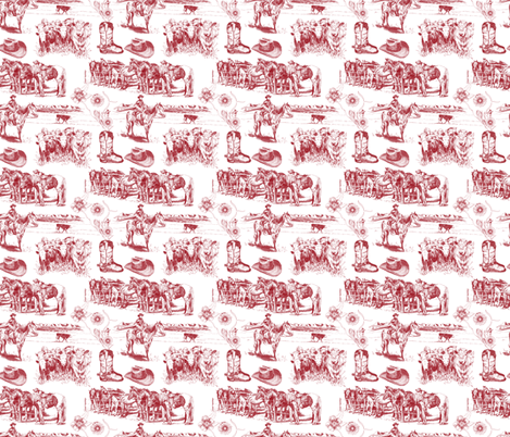 Cowboy Toile fabric by twobloom on Spoonflower - custom fabric