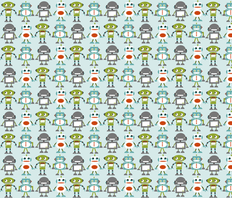 Robot Friends Blue fabric by natitys on Spoonflower - custom fabric
