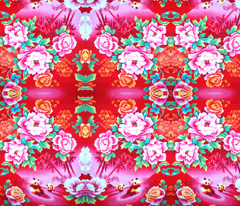 peonies and pandas fabric by eat_my_sweet_dust on Spoonflower - custom fabric