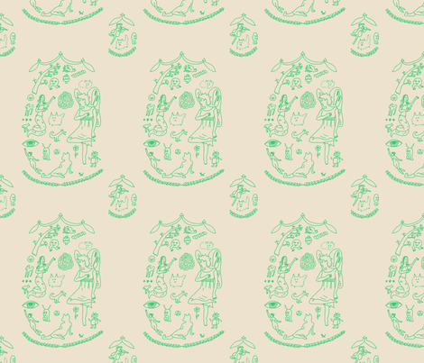 Toile of the Land of Doodling fabric by mongiesama on Spoonflower - custom fabric