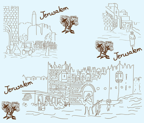 jerusalem toile de jouy fabric by tamnoona on Spoonflower - custom fabric