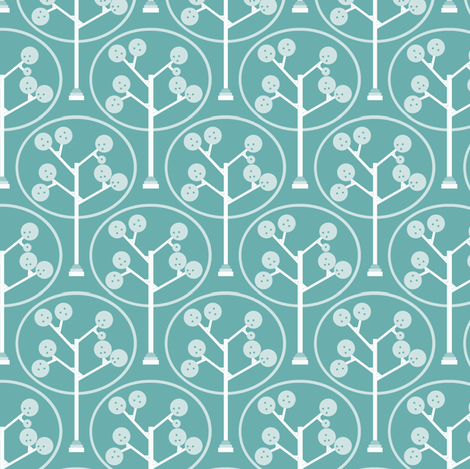 Mechanical Trees Blue fabric by natitys on Spoonflower - custom fabric