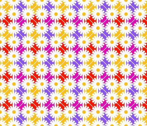 Colorful Daisies fabric by curlywillowco on Spoonflower - custom fabric