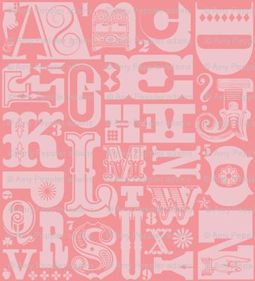Woodtype Alphabet - Mono Pink