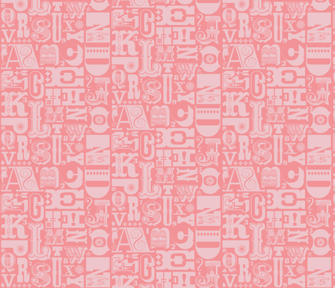 Woodtype Alphabet - Mono Pink fabric by pennycandy on Spoonflower - custom fabric