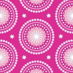 Bandana* (Pink Disaster) || scarf handkerchief stars starburst circles flowers fireworks geometric mandala