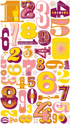 Woodtype Numbers (Pink)