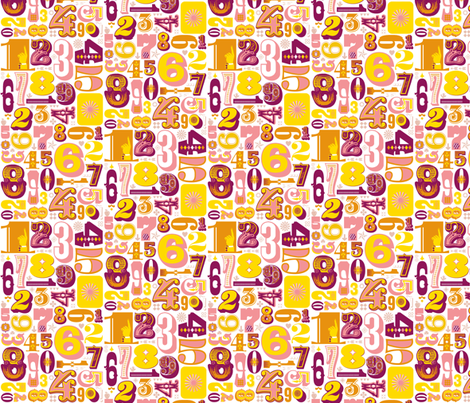 Woodtype Numbers (Pink) fabric by pennycandy on Spoonflower - custom fabric