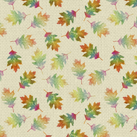 rainbow oak leaves (tiny leaves) fabric by weavingmajor on Spoonflower - custom fabric