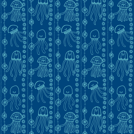 jellyfish stripes blues fabric by susan_swedien on Spoonflower - custom fabric