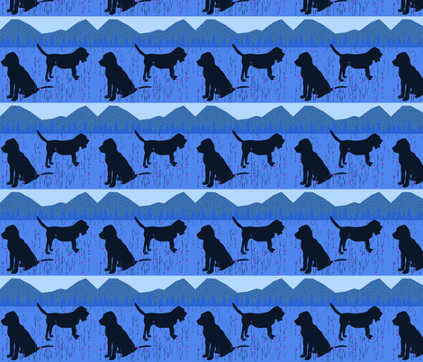 Blue Bloodhound fabric by ninjaauntsdesigns on Spoonflower - custom fabric