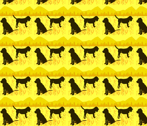 Yellow Bloodhounds fabric by ninjaauntsdesigns on Spoonflower - custom fabric