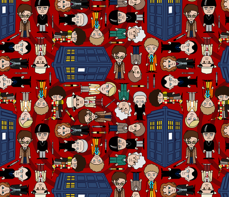 Who ville - Red fabric by thirdhalfstudios on Spoonflower - custom fabric