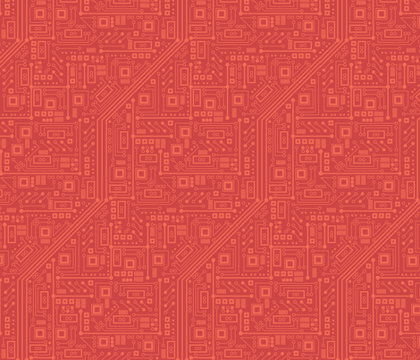 Robot Circuit Board (Red) fabric by robyriker on Spoonflower - custom fabric