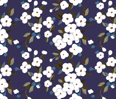 White Flowers fabric by glimmericks on Spoonflower - custom fabric