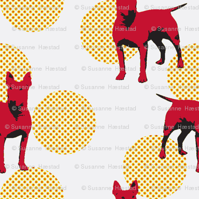 Red dogs on dotted dots